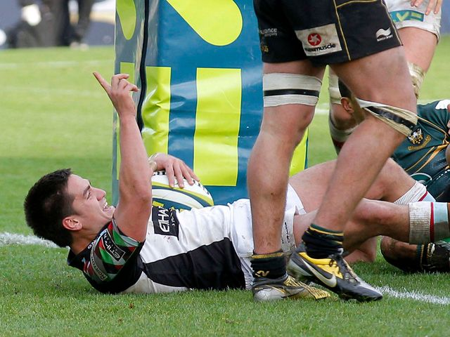 Ben Botica celebrates his late try
