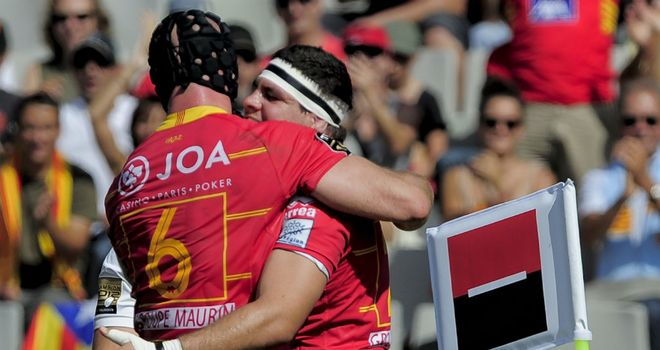 Perpignan's Alasdair Strokosch (left) and Guilhem Guirado (right) 2012