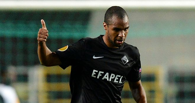 Wilson Eduardo: Celebrates one of his goals for Academica
