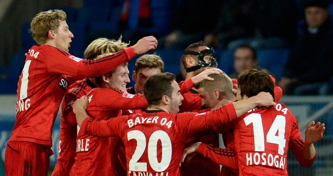 Bayer Leverkusen celebrate against Hoffenheim