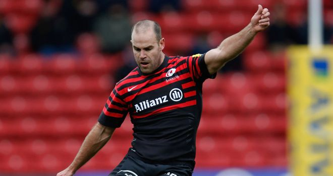 Hodgson: the Sarries star converted seven penalties against Gloucester