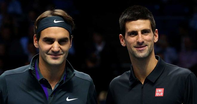 Novak Djokovic (R) and Roger Federer: Showed mutual respect after ATP World Tour Finals