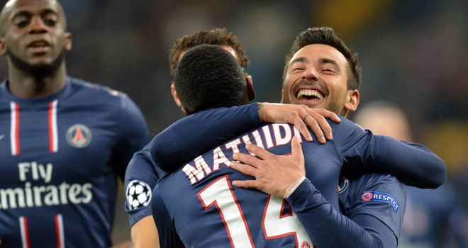 Ezequiel Lavezzi scored a brace to seal Paris St Germain&#39;s place in the last 16