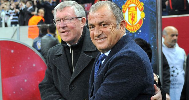 Fatih Terim with Sir Alex Ferguson, who was left to rue the manner of the goal conceded against Galatasaray