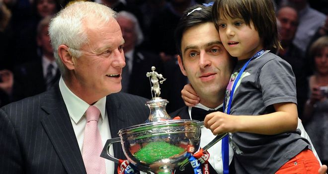Barry Hearn congratulates Ronnie O'Sullivan after 2012 World Championship win
