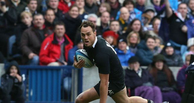 Israel Dagg rounds the defence to score for New Zealand
