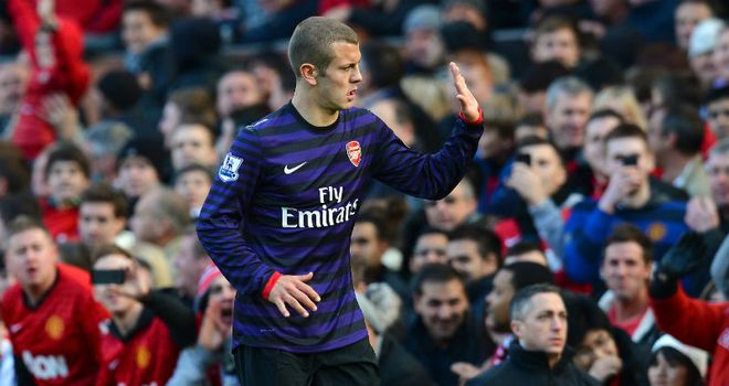Jack Wilshere: Saw red after earning second booking for Evra challenge