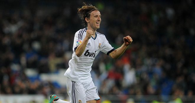 Luka Modric celebrates his first goal since moving to Real Madrid