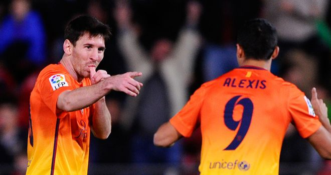 Lionel Messi: Celebrates one of his goals against Real Mallorca