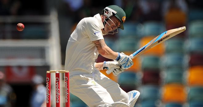 Michael Clarke: Evades a bouncer during first Test in Brisbane