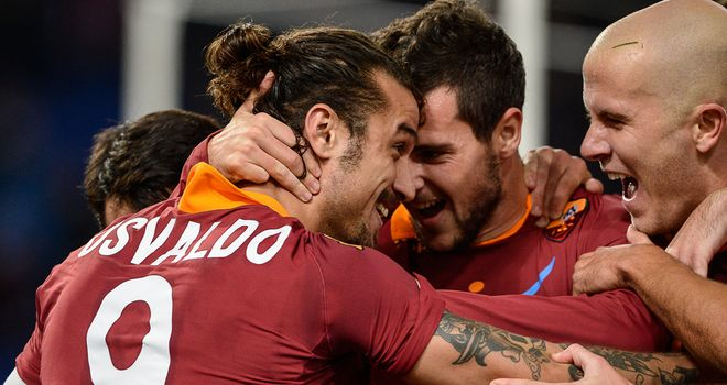 Osvaldo: Celebrates his strike