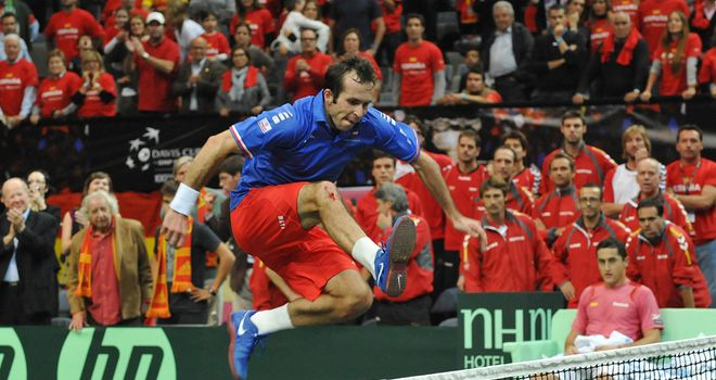A triumphant Radek Stepanek leaps the net after his decisive victory