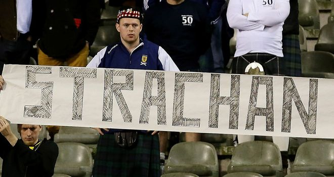 A Scotland fan shows his support for bookies' favourite Gordon Strachan