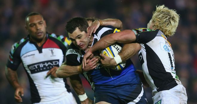 Stephen Donald makes some hard yards for Bath
