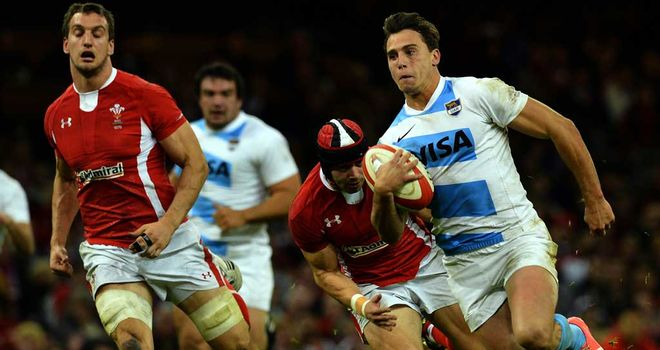 Juan Jose Imhoff scores Argentina's first try in Cardiff