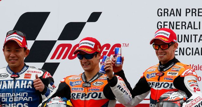Casey Stoner: On the Valencia podium alongside Dani Pedrosa and Katuyuki Nakasuga