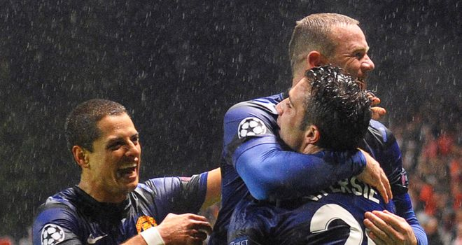 Strike force: Hernandez, Rooney and Van Persie all scored against Braga
