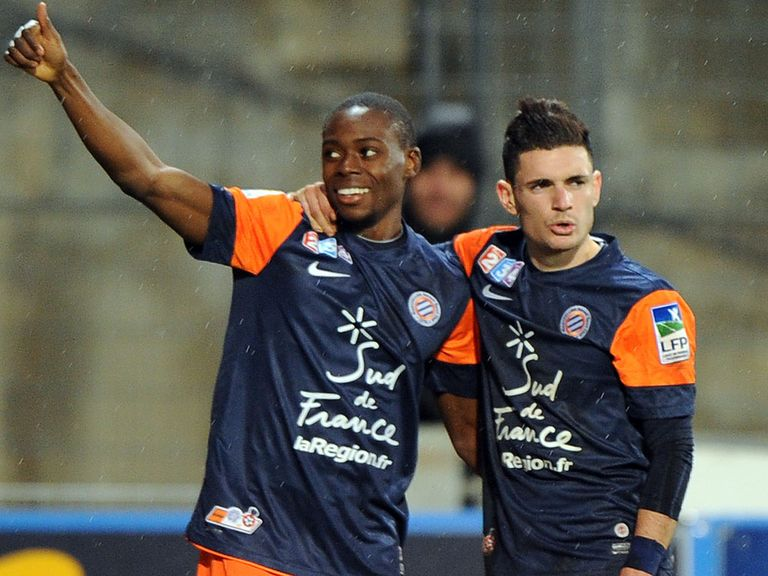 Tinhan and Cabella celebrate for Montpellier