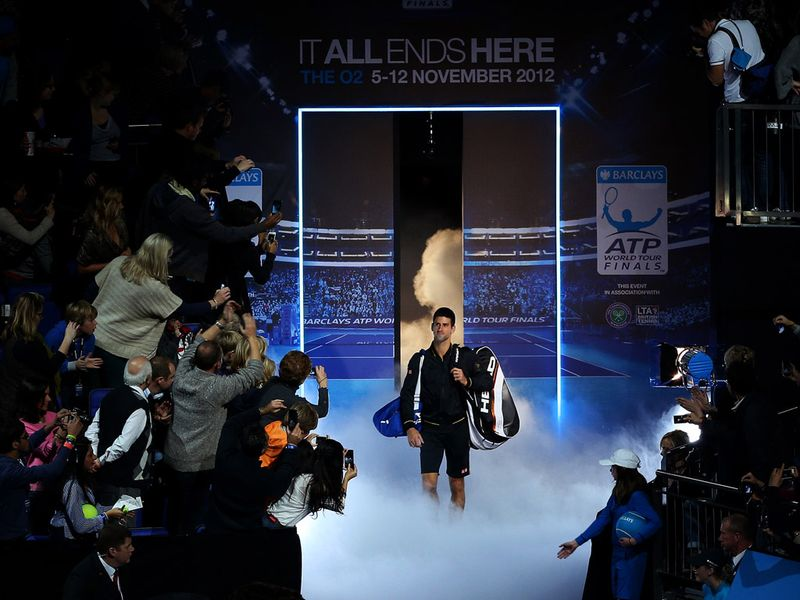 World number one Novak Djokovic walked out on court to take on Juan Martin Del Potro in the first semi-final of the ATP World Tour Finals in London.