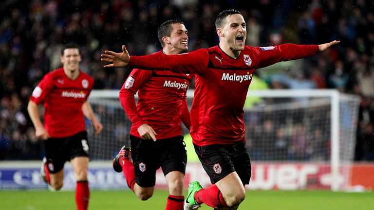 Conway: Celebrates his winner for Cardiff