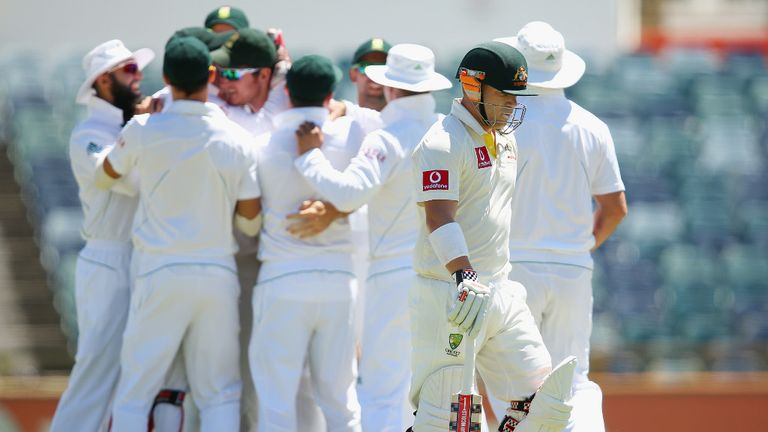 David Warner was caught in the slips off the second ball of the day, bowled by Vernon Philander.