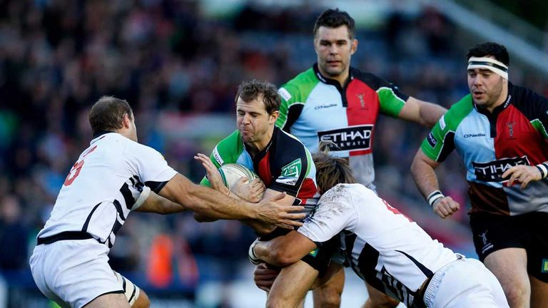 Zebre players in action against Harlequins