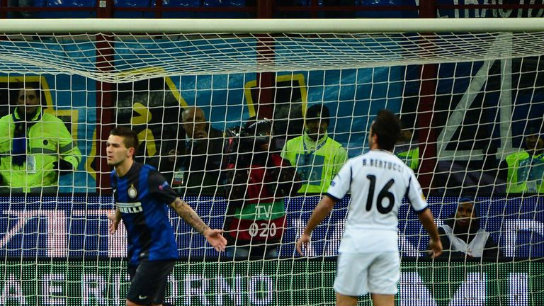 Marko Livaja celebrates for Inter Milan