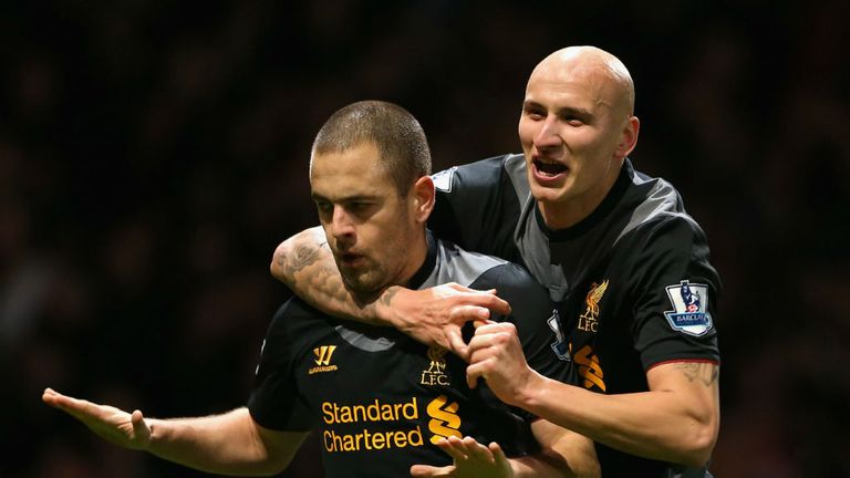 Joe Cole: Is mobbed by Jonjo Shelvey after scoring against West Ham