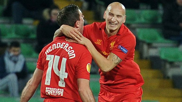 Jordan Henderson celebrates his goal with Jonjo Shelvey