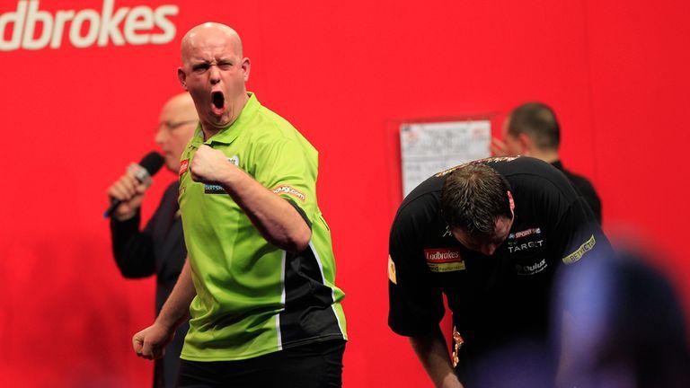 Van Gerwen: celebrates famous win over Lewis