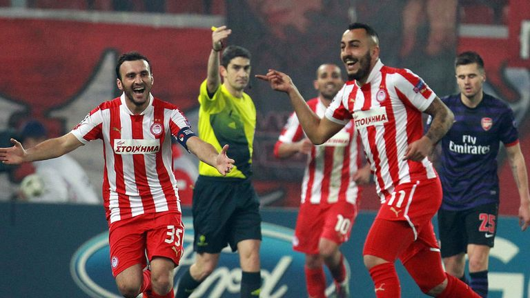 Kostas Mitroglou: Celebrates his winner against Arsenal