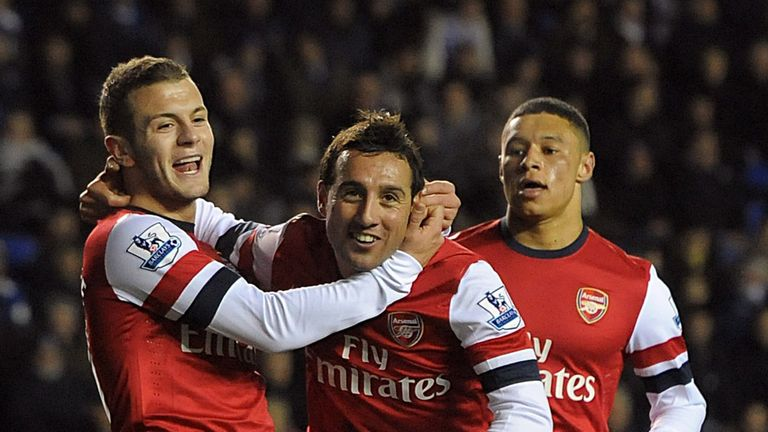 Cazorla: Congratulated by Wilshere and Oxlade-Chamberlain