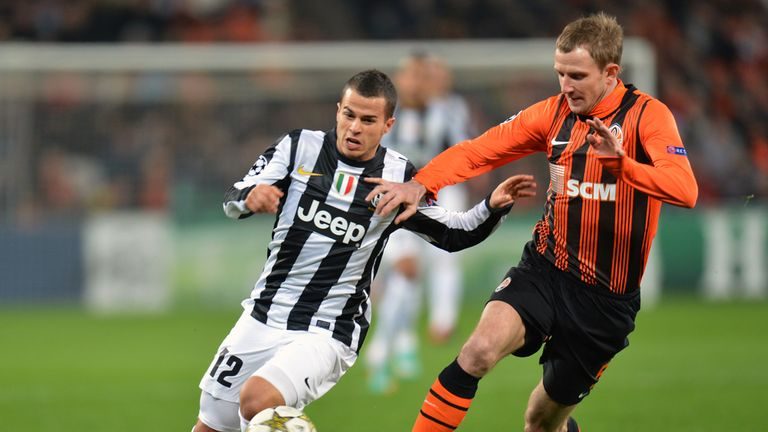 Tough battle: Sebastian Giovinco and Olexandr Kucher vie for the ball