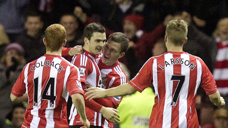 Adam Johnson celebrates his match-winner at the Stadium of Light