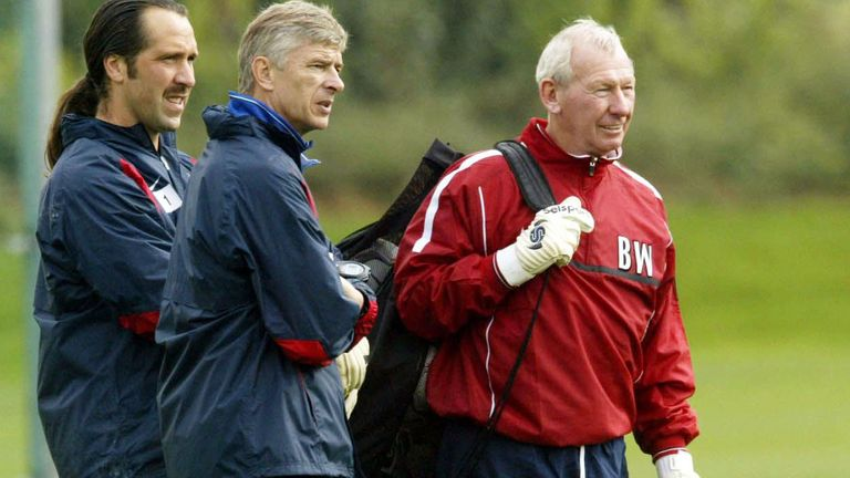 Wenger with two former Arsenal keepers - Wilson & Seaman