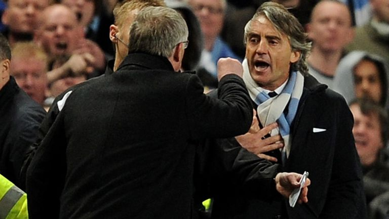 Ferguson and Mancini clashed during April's clash at the Etihad