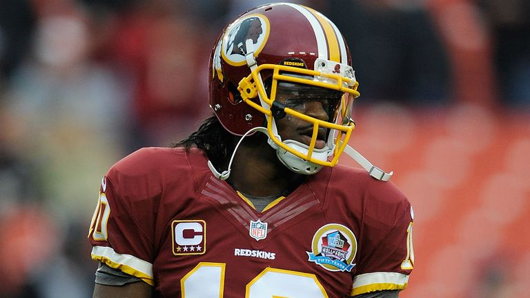 Robert Griffin III: listed as day-to-day ahead of the Redskins' trip to Cleveland on Sunday