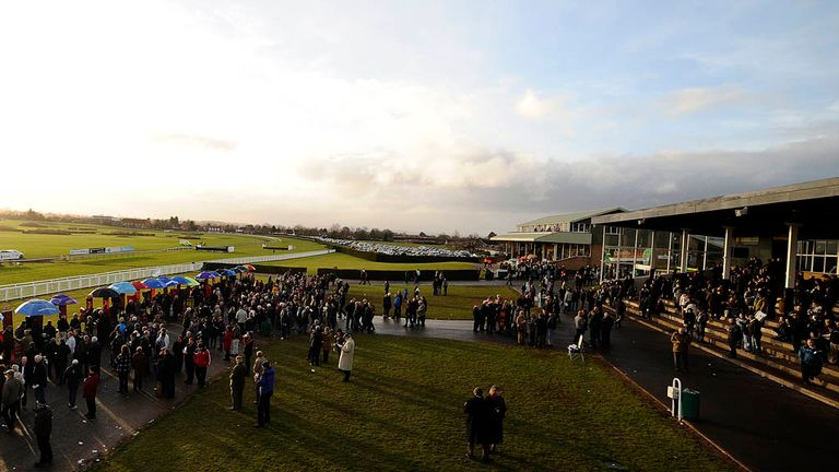 Racegoers attend the final meeting at Hereford on Sunday