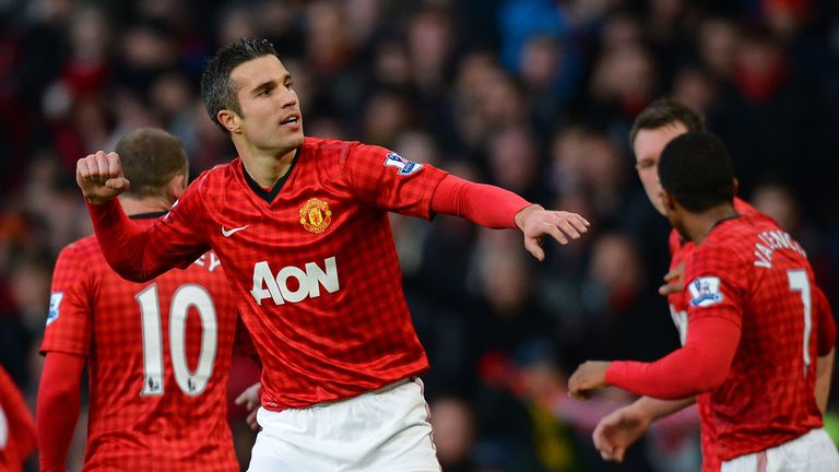 Robin van Persie celebrates his 15th goal for Manchester United