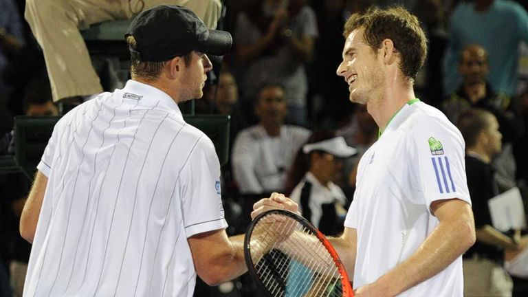 Andy Roddick and Andy Murray: All smiles after exhibition match