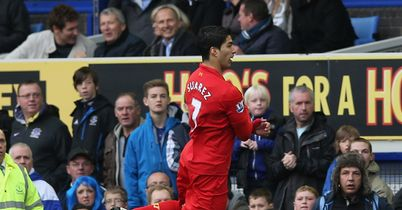 Luis Suarez: Celebrates in comedy fashion after Goodison goal