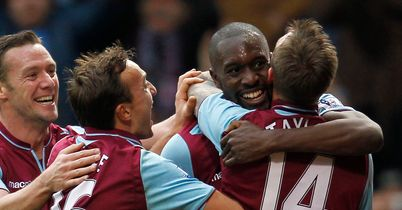 Carlton Cole celebrates after levelling for West Ham