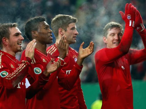 Bayern Munich celebrate their win over Augsburg