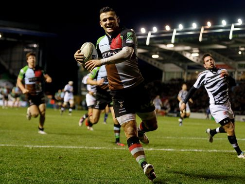 Danny Care goes in for a Quins try