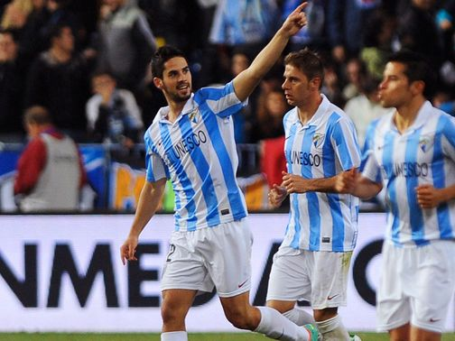 Isco celebrates for Malaga