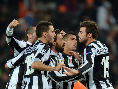 Juventus celebrate their victory over Shakhtar Donetsk