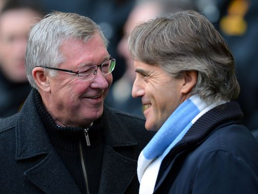 Mancini (right) will be cheering on Ferguson's (left) United team in Europe