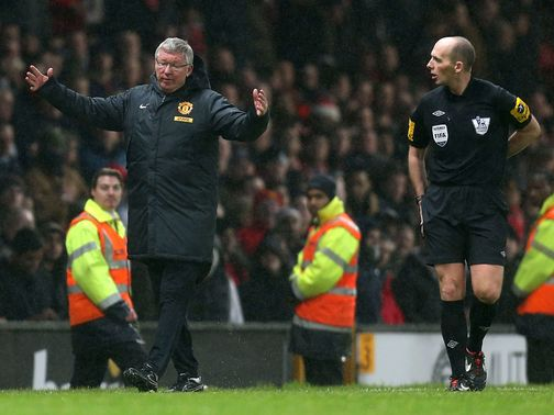 Sir Alex Ferguson confronted referee Mike Dean