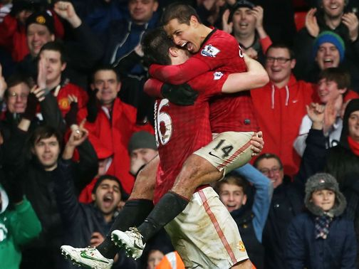 Hernandez celebrates his winner against Newcastle