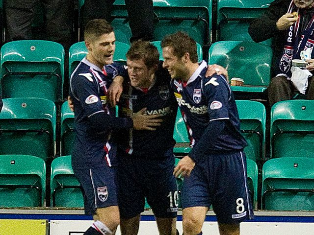 Ross County celebrate scoring the game's only goal
